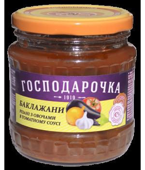 """Консерви """"Господарочка"""" Баклажани різані з овочами в томатному соусі 420 г (4820024797702)"""