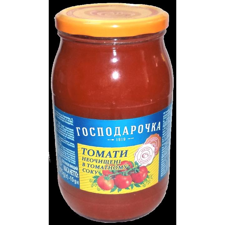 """Томати неочищені """"Господарочка"""" в томатному соку 875 г (4820024798761)"""