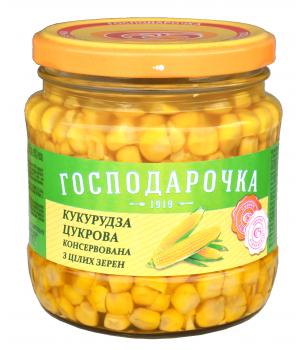 "Кукурудза цукрова ""Господарочка"" консервована із цілих зерен с/б 430 г (4820024797856)"