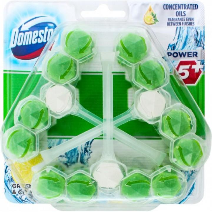 Блок для очищення унітаза Domestos Power 5+ зелений чай і свіжість лимона 3 шт. 55 г (8710447490181)