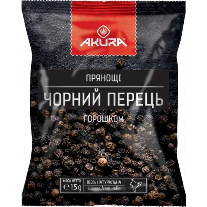 Перець чорний AKURA, горошок 15 г (4820178462259)