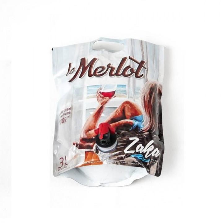 Вино Zaka Merlot червоне напівсолодке 3 л (4820238710689)