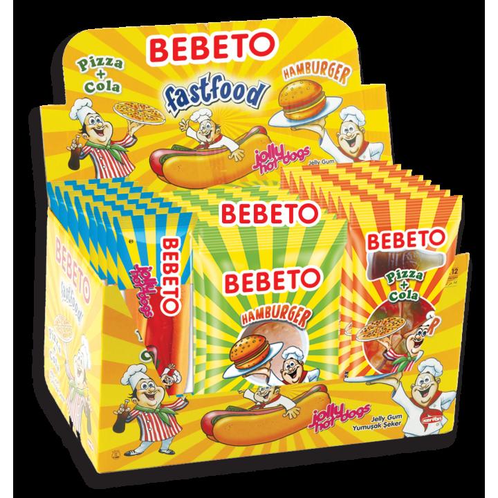 "Цукерки жувальні Bebeto ""Фаст фуд"" 28 г x 24 шт. (8690146655619)"