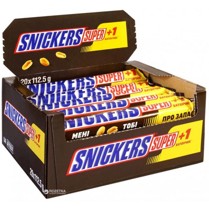Батончик Snickers Super з арахісом у молочному шоколаді 112,5 г x 20 шт. (5900951261060)