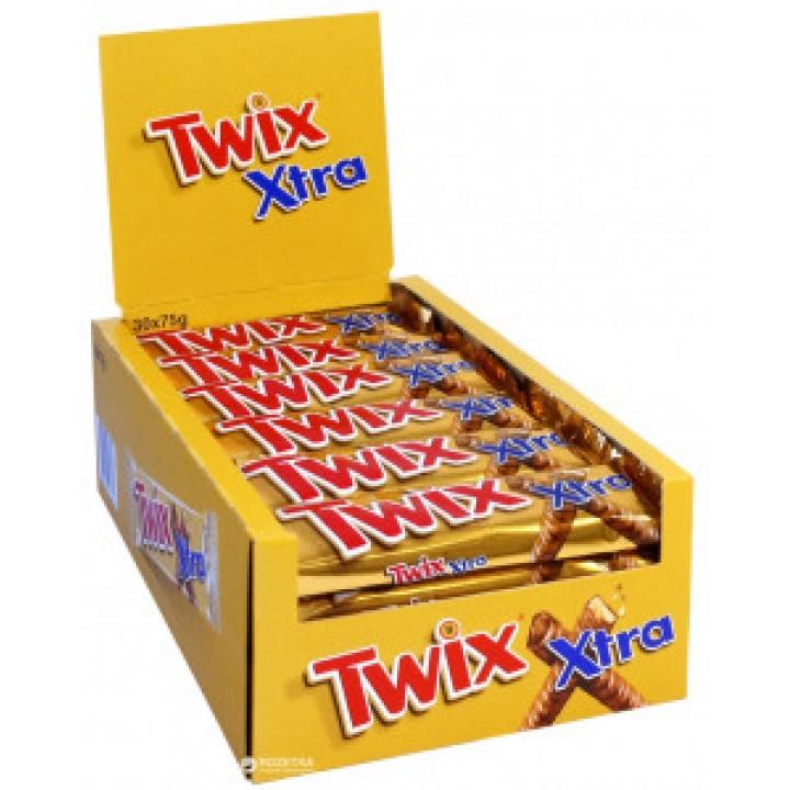 Батончик Twix Extra з печевом і карамелью у молочному шоколаді 75г x 20шт. (5900951028502)
