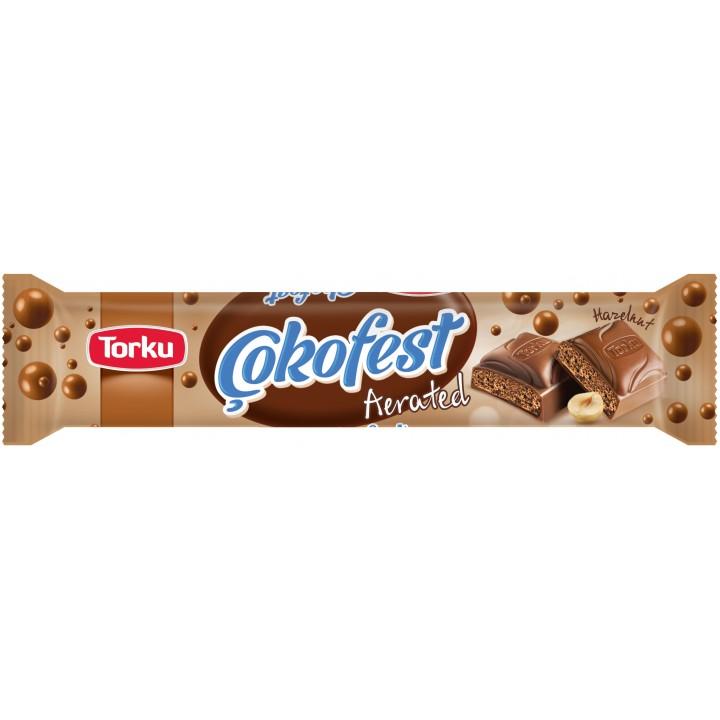 Шоколад Torku Cokofest молочний з пористим фундуковим кремом 35г (8690120094687)