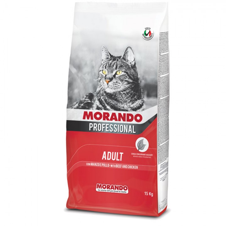 MORANDOPROFESSIONALADULT Повноцінний сухий корм для дорослих котів з яловичиною та куркою,15кг (8007520105262)