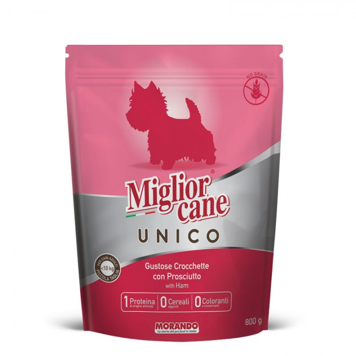 Migliorcane UNICO Повноцінний сухий корм для дорослих собак малих порід, з прошутто 800 г (8007520024716)