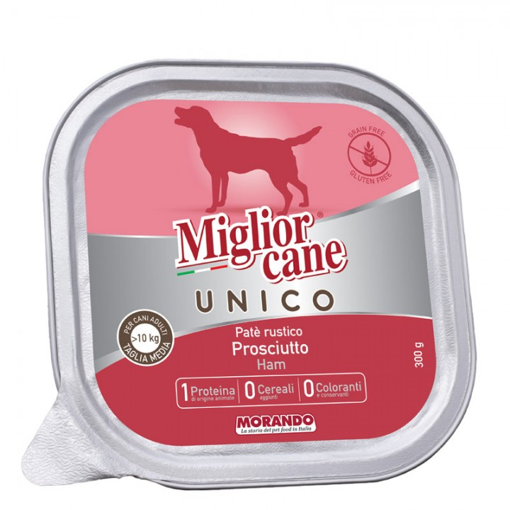 MІGLIORCANE UNICO ADULT MEDIUM паштет з шинкою, 300г (8007520024464)