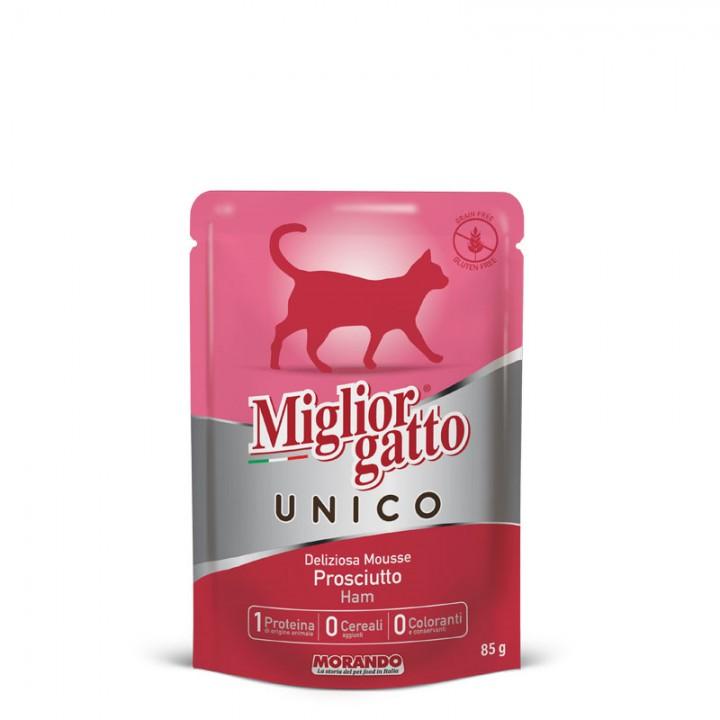 MIGLIORGATTOUNICO ADULT повноцінний вологий корм з прошутто, 85г (8007520014335)