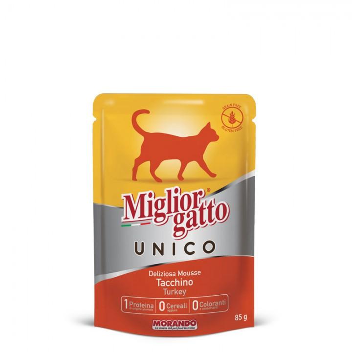 MIGLIORGATTO UNICO ADULT вологий корм з індичкою, 85г (8007520014359)