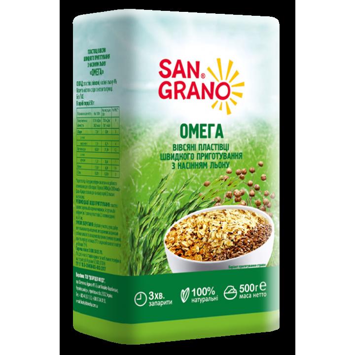 Пластівці вівсяні San Grano швидкого приготування з насіння льону  500 г  (4820182200724)