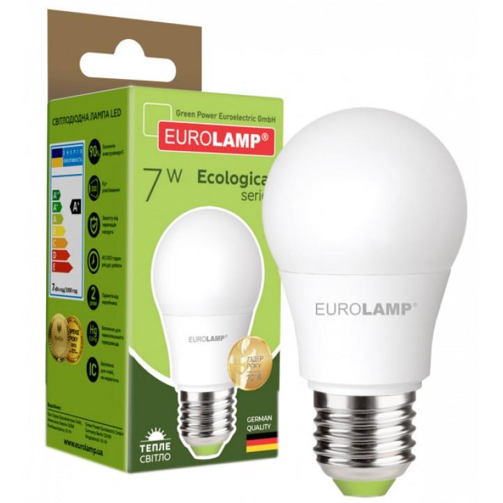 Світлодіодна лампа EUROLAMP А50 7W E27 3000K (LED-A50-07273(P))