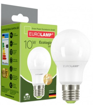 Світлодіодна лампа EUROLAMP А60 10W E27 4000K (LED-A60-10274(P))