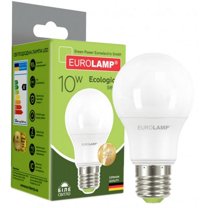 Світлодіодна лампа EUROLAMP LED А60 10W E27 4000K 220V (LED-A60-10274(P))