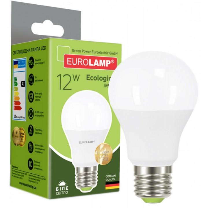 Світлодіодна лампа EUROLAMP А60 12W E27 4000K (LED-A60-12274(P))