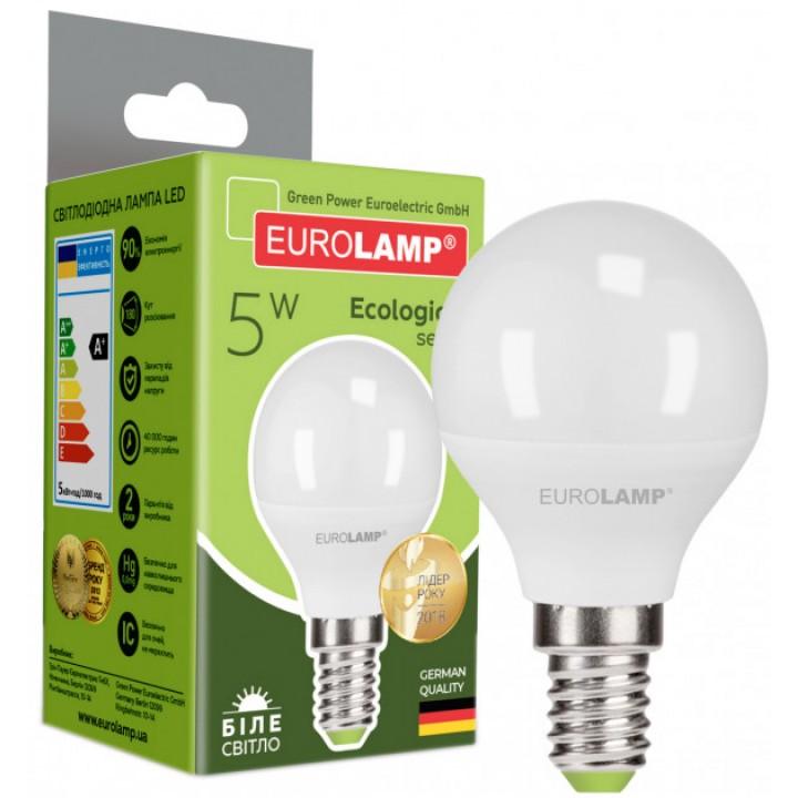 Світлодіодна лампа EUROLAMP G45 5W E14 4000K (LED-G45-05144(P))