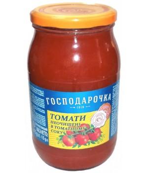 Томати неочищені в томатному соці  ТМ Господарочка 875 г (4820024794640)