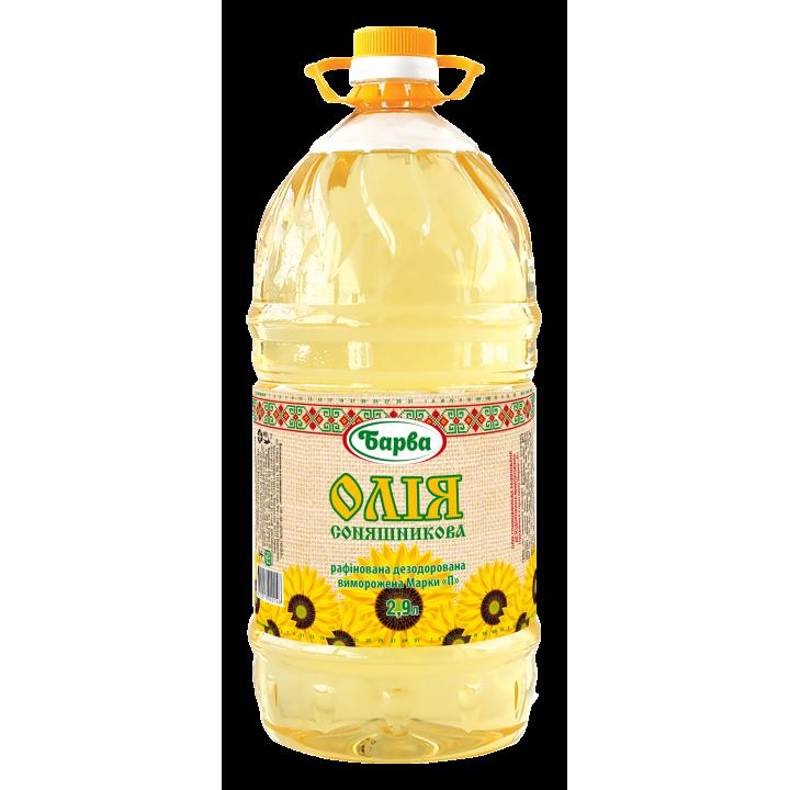"""Олія соняшникова """"Барва"""" рафінована дезодорована 2,9 л /  2670 г (820217900148)"""