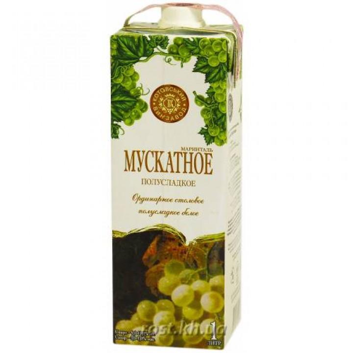"""Вино """"Мускатне Марінталь"""" біле напівсолодке 1 л"""