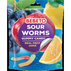 """Цукерки жувальні Bebeto """"Кислі черв'ячки"""" 60 г (8690146132400)"""