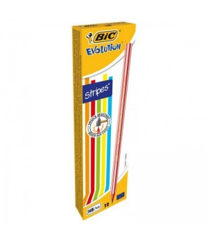 Олівці чорнографітові BIC Evolution 646 Stripes 12 шт. (3086123357860)