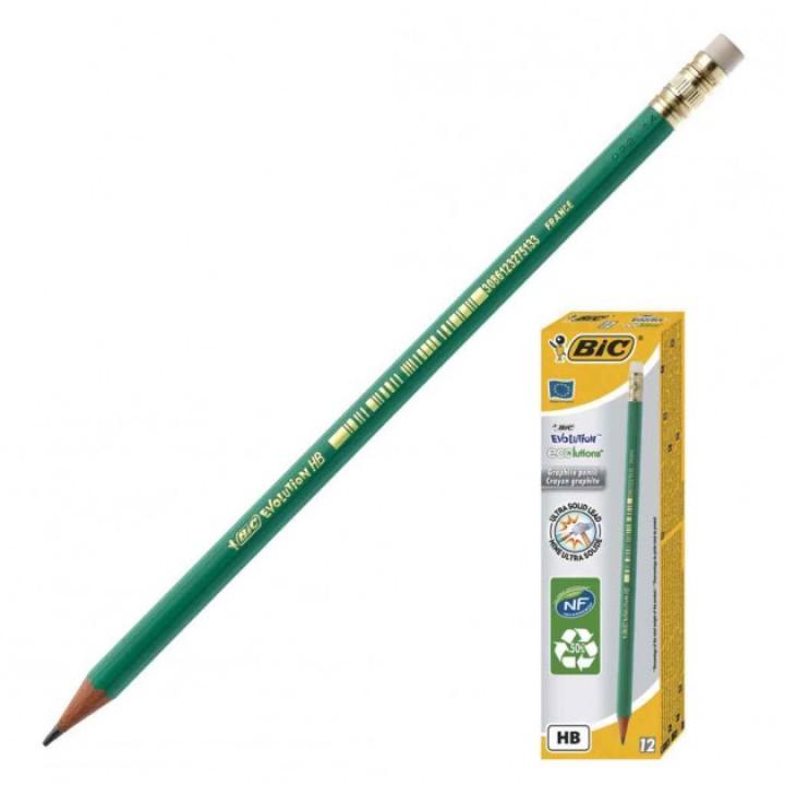 Олівці чорнографітові BIC Evolution 650 з гумкою 12 шт. (3086124000291)