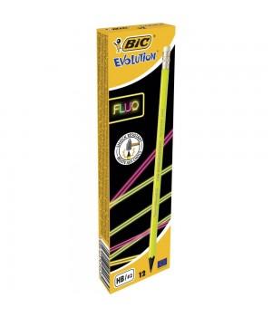 Олівці чорнографітові BIC Evolution Fluo НВ 12 шт. (3086123409040)
