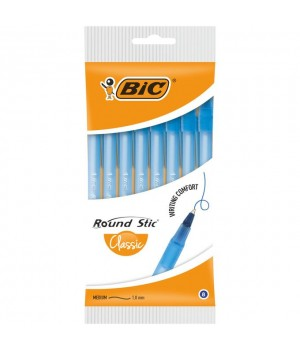 Ручки кулькові BIC Round Stic M сині 8 шт. (3086123399297)