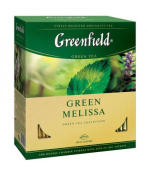 Чай зелений Greenfield Green Melissa з ароматом м'яти та лимона 100х1,5 г