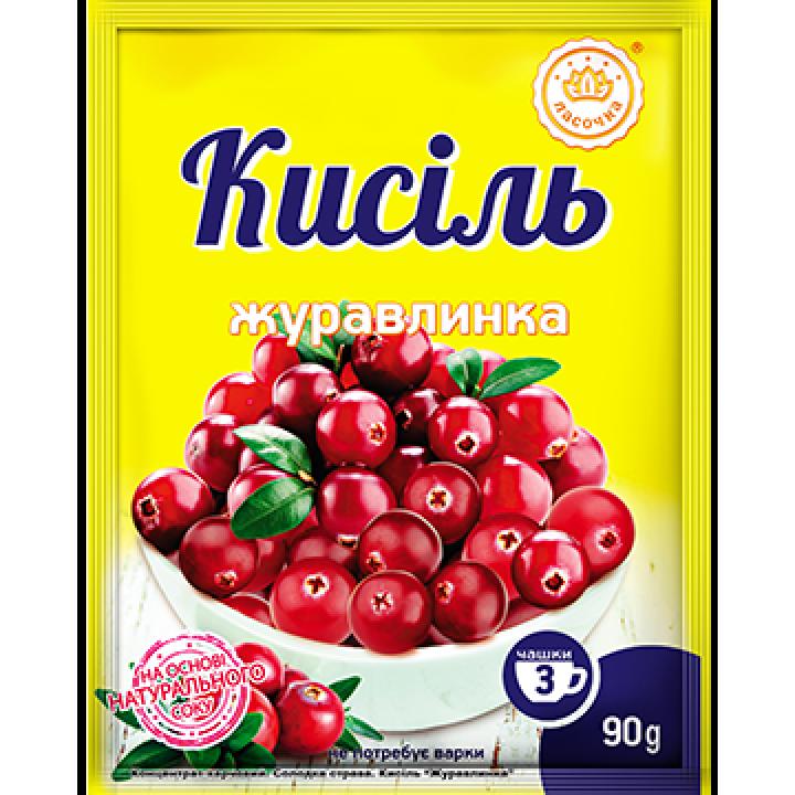 """Кисіль у пакеті """"Ласочка"""" Журавлинка 90 г"""