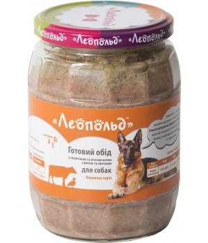 Консерви для собак Леопольд Готовий обід з телятиною і м'ясом качки з рисом і овочами 720г (4820185491617)