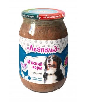 Консерви для собак Леопольд М'ясний з м'ясом птиці і яблуками 850г (4820185492225)