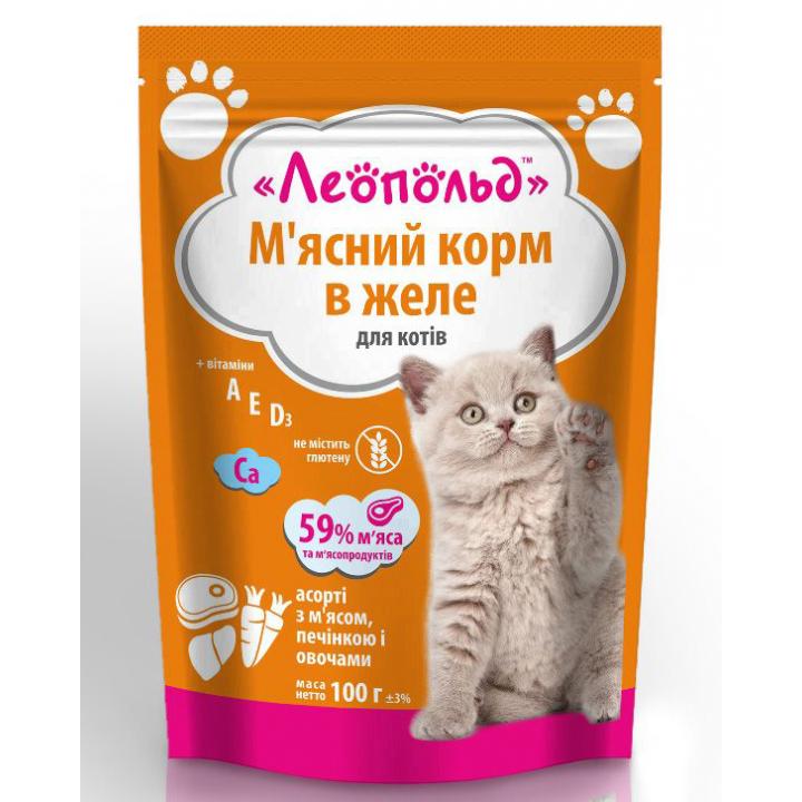 Консерви для котів  Леопольд Асорті з м'ясом, печінкою і овочами в желе 100г (4820185491679)