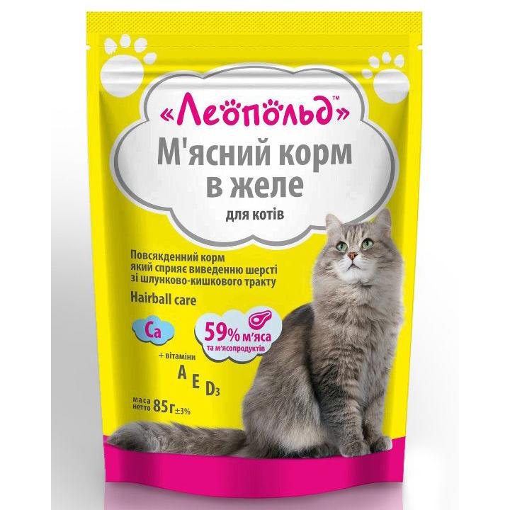 Консерви для котів Леопольд М'ясний корм для виведення шерсті зі шлунково-кишкового тракту 85г (4820185491747)