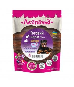 Консерви для собак Леопольд Готовий корм з ягням, куркою, рисом і овочами 500г (4820185491846)