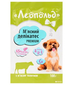 Консерви для собак Леопольд М'ясні делікатеси з м'ясом телятини 100г (4820185491495)