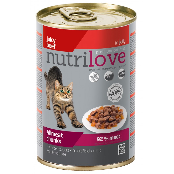 Консерви для дорослих котів Nutrilove Chunks з соковитою яловичиною в желе 415г (8595606402560)