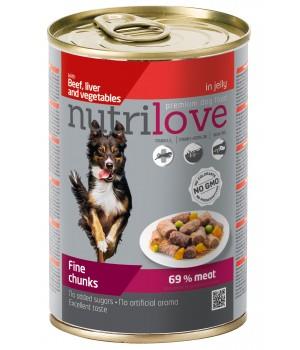 Консерви для собак Nutrilove Fine chunks яловичина, печінка і овочі в желе 415г (8595606402584)