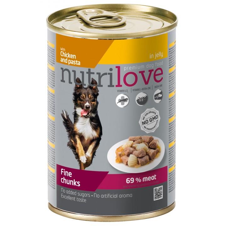 Консерви для собак Nutrilove Fine chunks курка і паста в желе 415г (8595606402591)