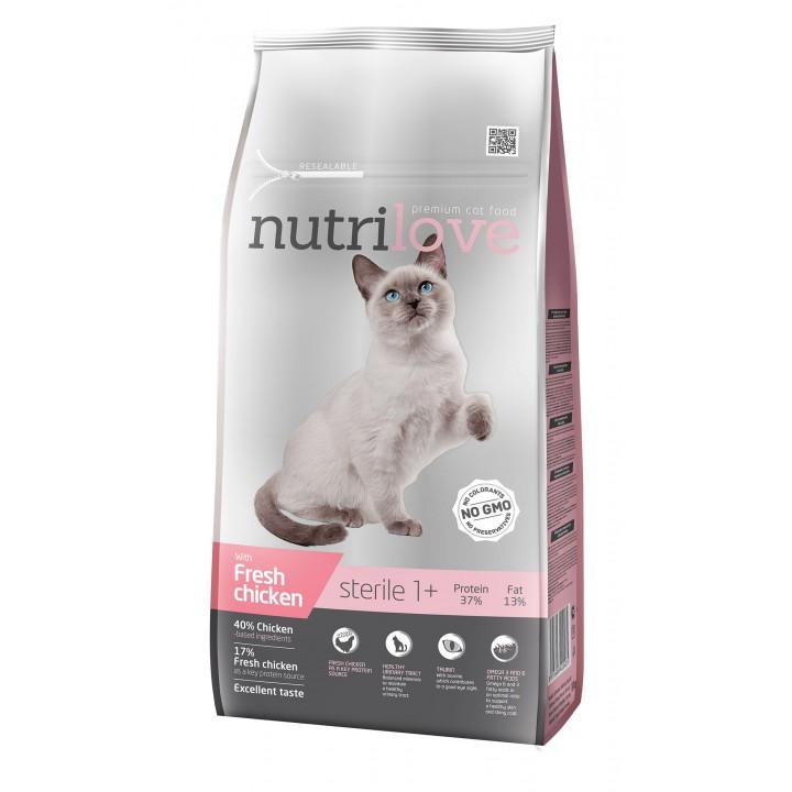 Сухий корм Nutrilove Sterile зі свіжою куркою 7кг (8595606402485)