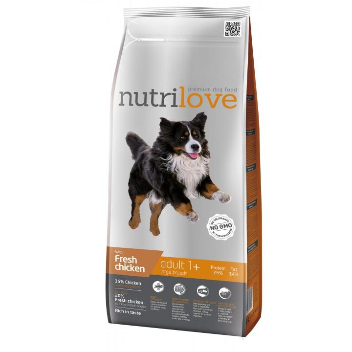 Сухий корм для собак Nutrilove Adult з куркою і рисом 3кг (8595606402355)