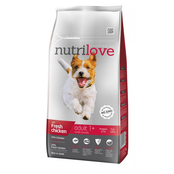 Сухий корм для собак Nutrilove Adult з куркою і рисом 8кг (8595606402324)