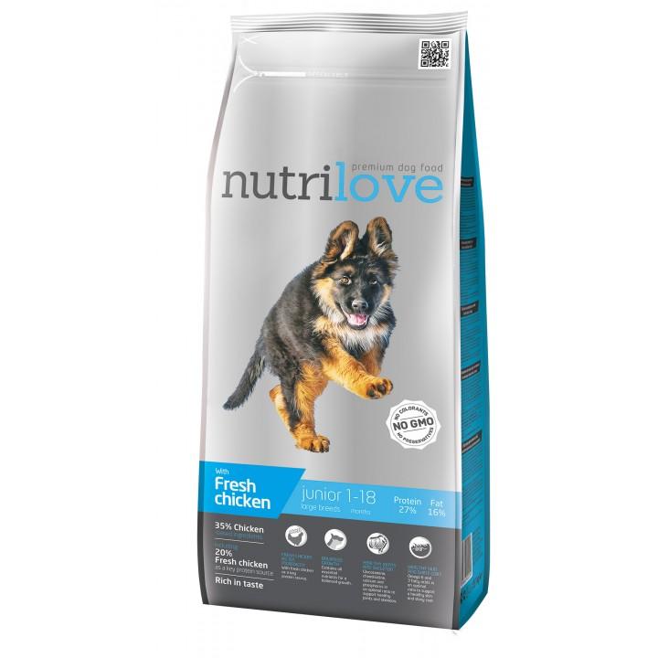 Сухий корм для цуценят Nutrilove Junior з куркою і рисом 3 кг (8595606402294)