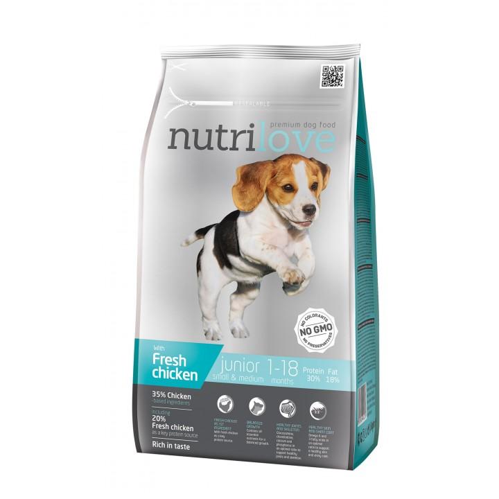 Сухий корм для цуценят Nutrilove Junior з куркою і рисом 1,6кг (8595606402270)
