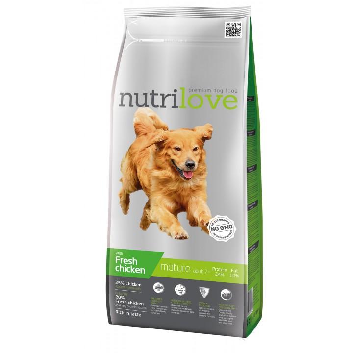 Сухий корм для собак Nutrilove Mature adult з куркою і рисом 3 кг (8595606402379)