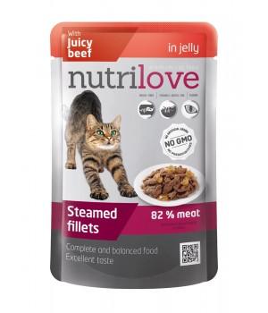 Консерви для дорослих котів Nutrilove Steamed Fillets з соковитою яловичиною в желе 85г (8595606402751)