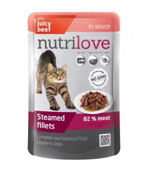 Консерви для дорослих котів Nutrilove Steamed Fillets з соковитою яловичиною в соусі 85г (8595606402720)