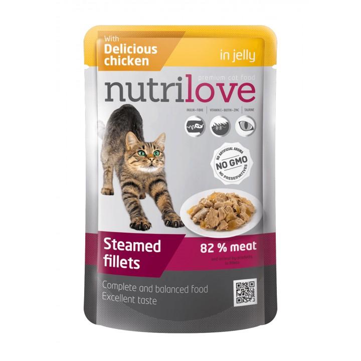 Консерви для дорослих котів Nutrilove Steamed Fillets з ніжною куркою в желе 85г (8595606402744)