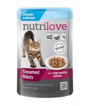 Консерви для дорослих котів Nutrilove Steamed Fillets з атлантичним лососем в соусі 85г (8595606402737)